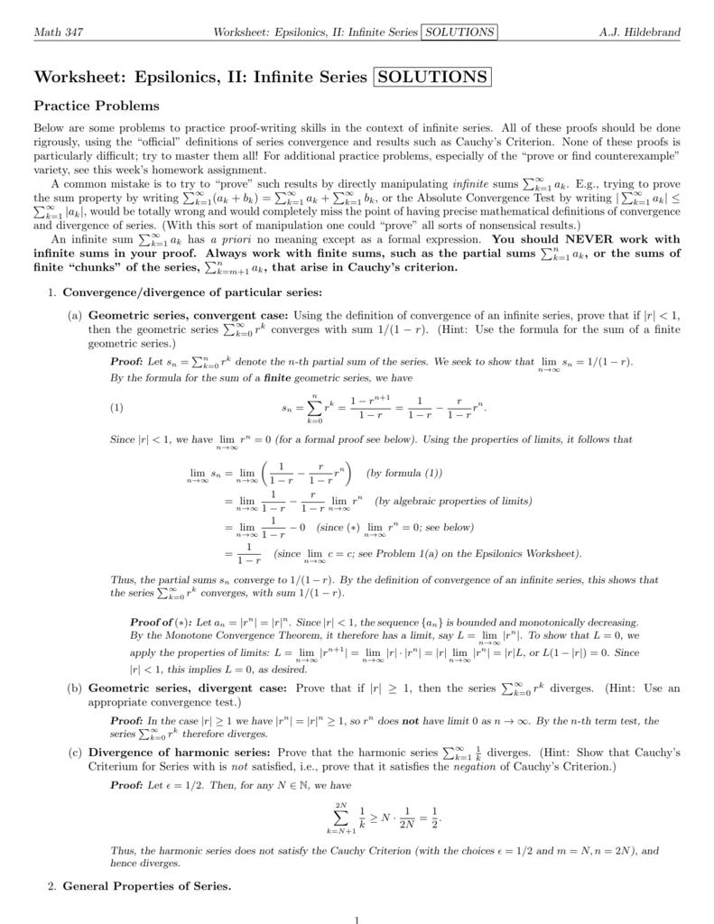Worksheet: Epsilonics, II: Infinite Series SOLUTIONS