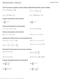 Algebra 2 - Sequences and Series Practice Test