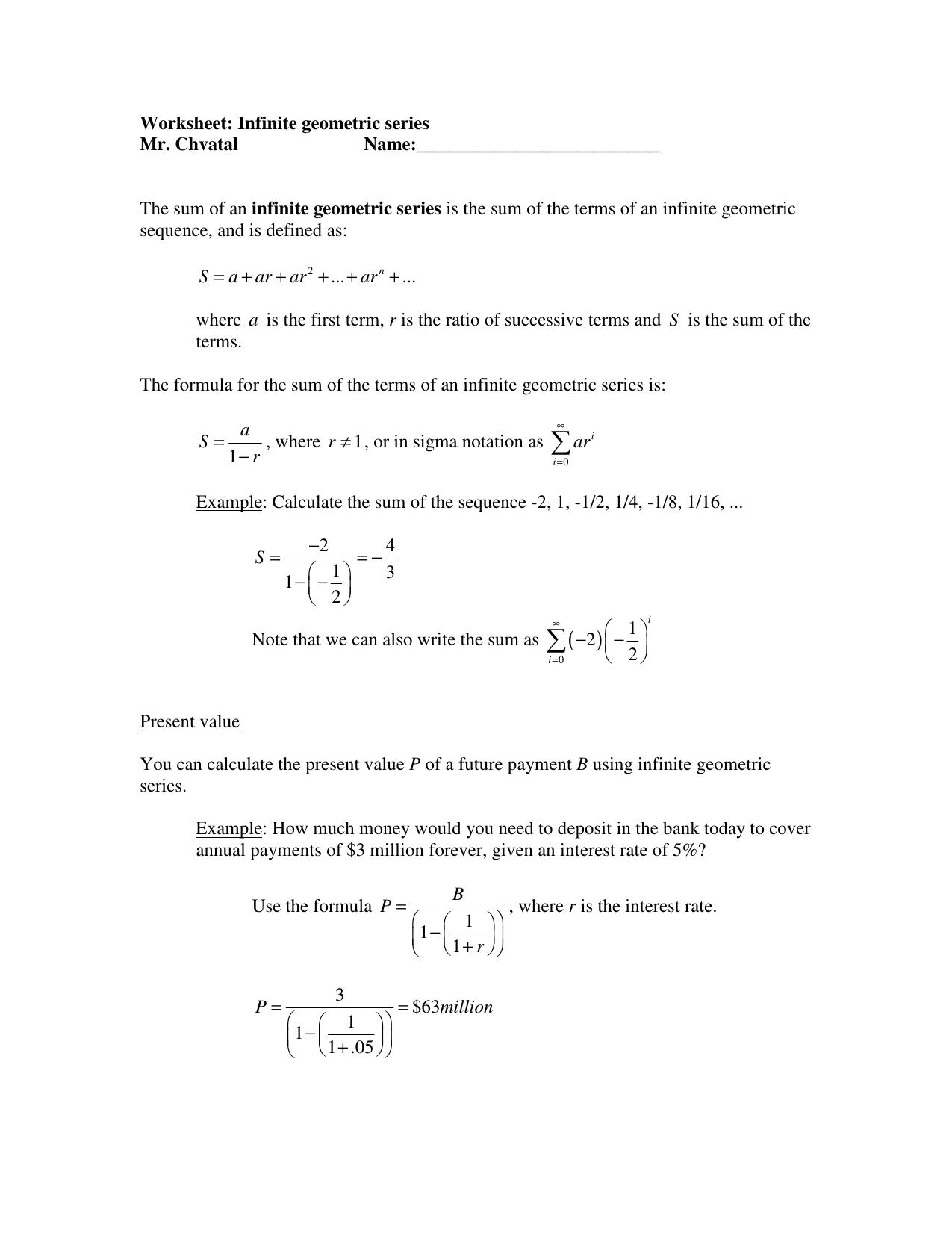Worksheet: Infinite geometric series