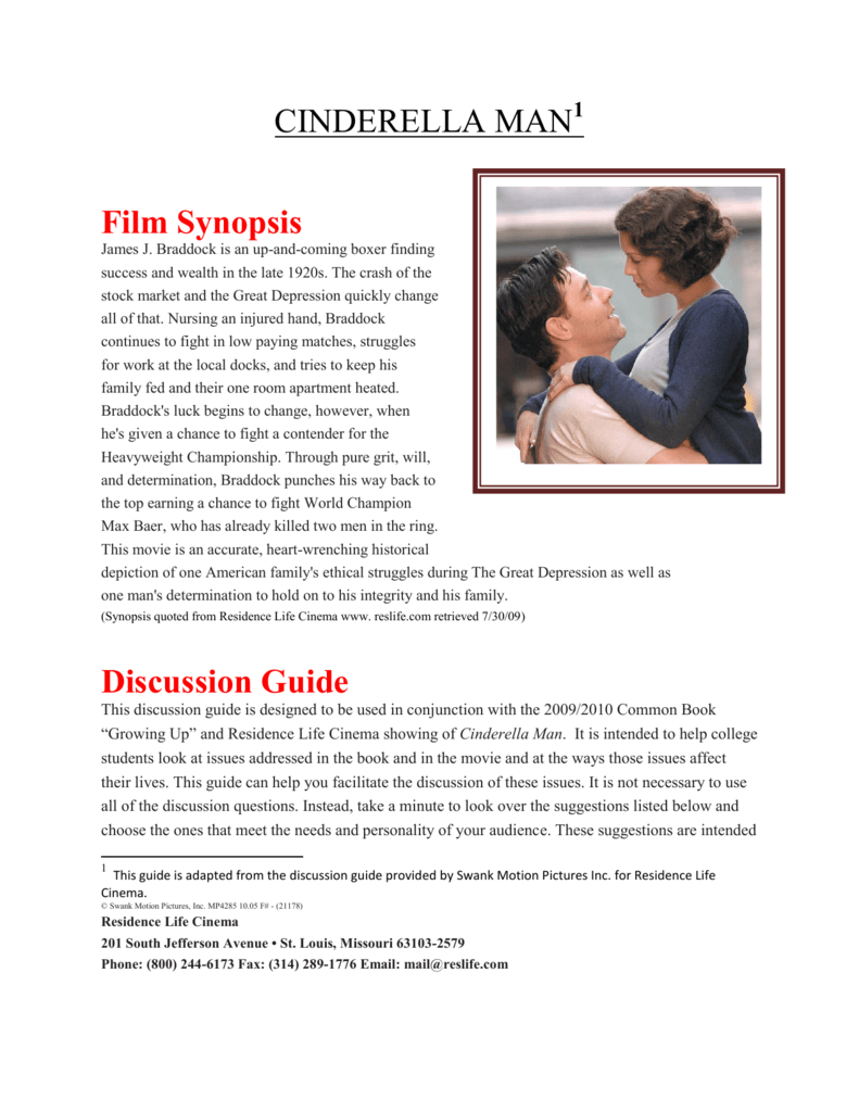cinderella man film synopsis discussion guide rh studylib net