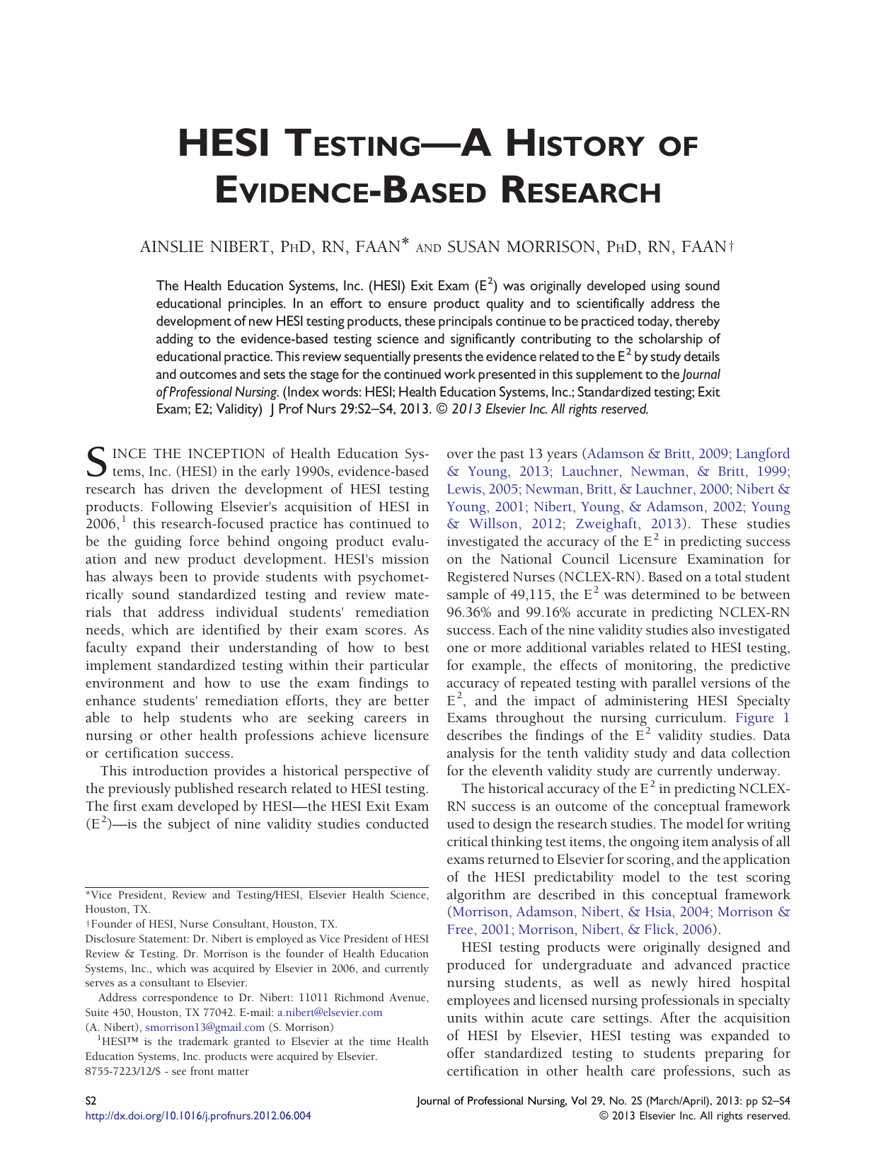 HESI Testing—A History of Evidence