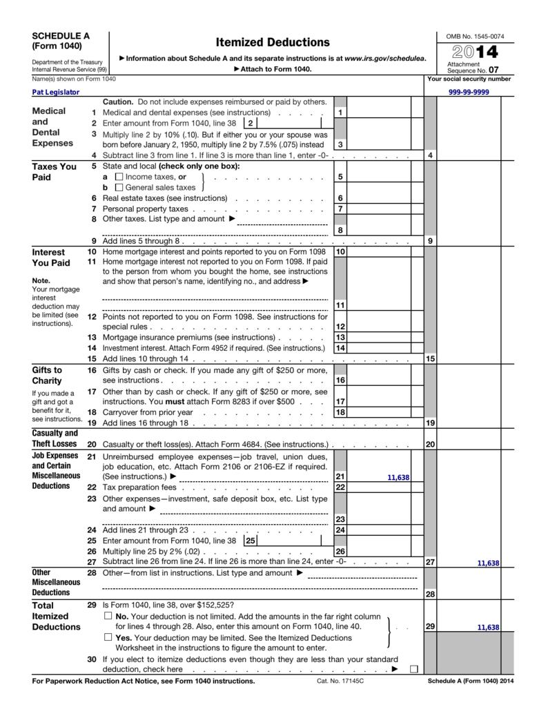 2014 Form 1040 (Schedule A)