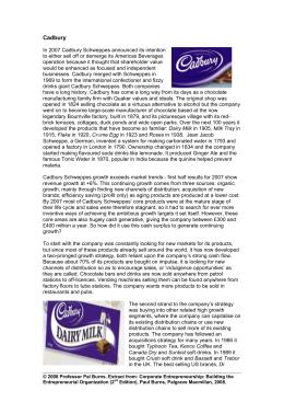 Cadbury Schweppes: Capturing Confectionery (A) - hbr.org