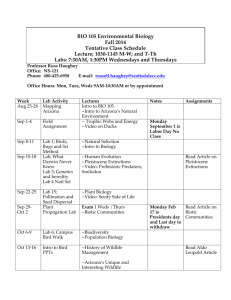 BIO 105 Environmental Biology Fall 2014 Tentative Class Schedule