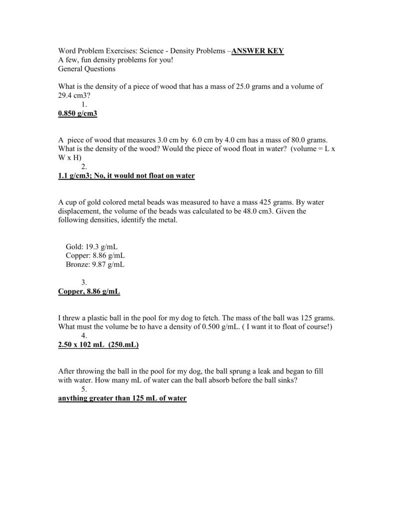 worksheet Density Word Problems Worksheet Answers word problem exercises science