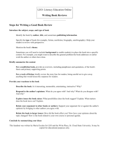 LEO: Literacy Education Online Writing Book Reviews Steps for