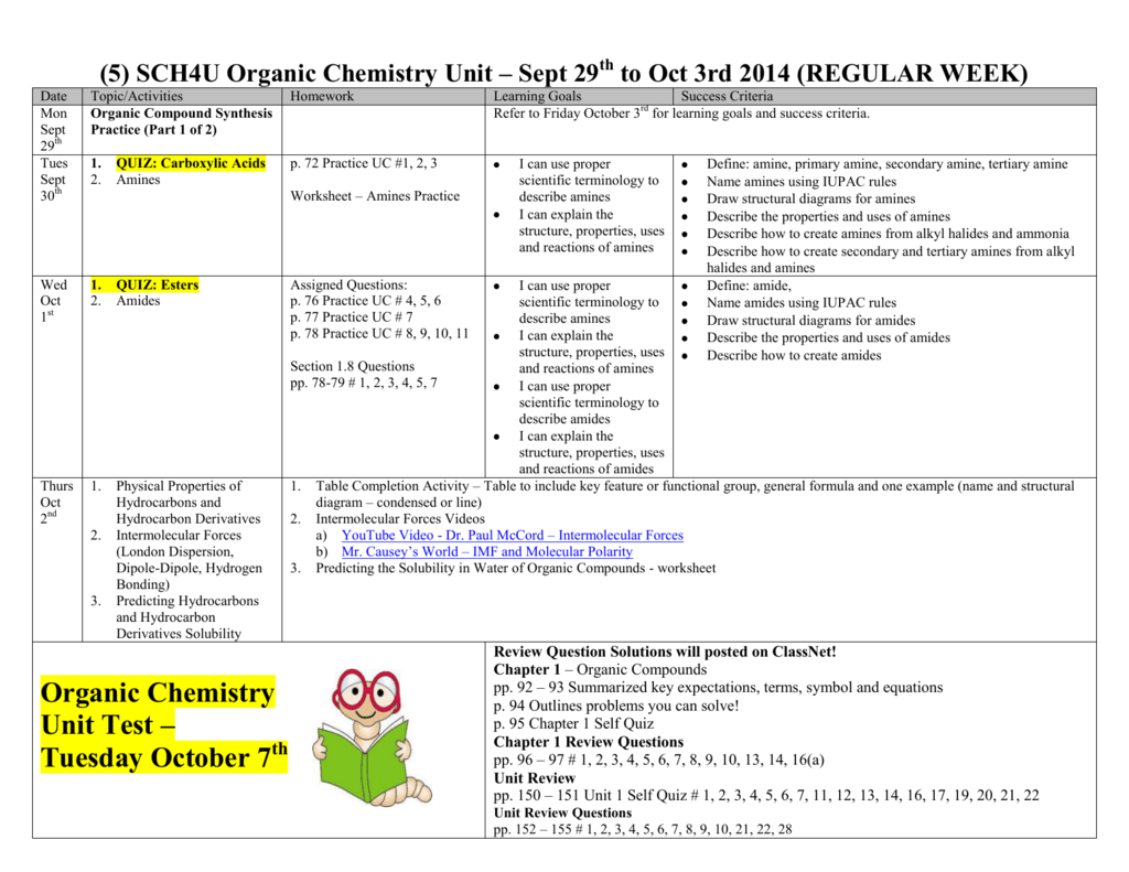 Organic Chemistry Unit Test – Tuesday October 7