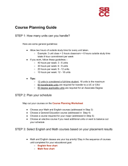 Course Planning Guide