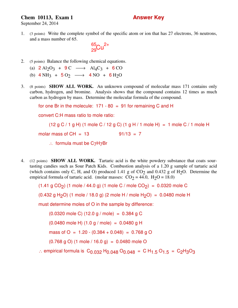 Chem 10113 Exam 1 Answer Key
