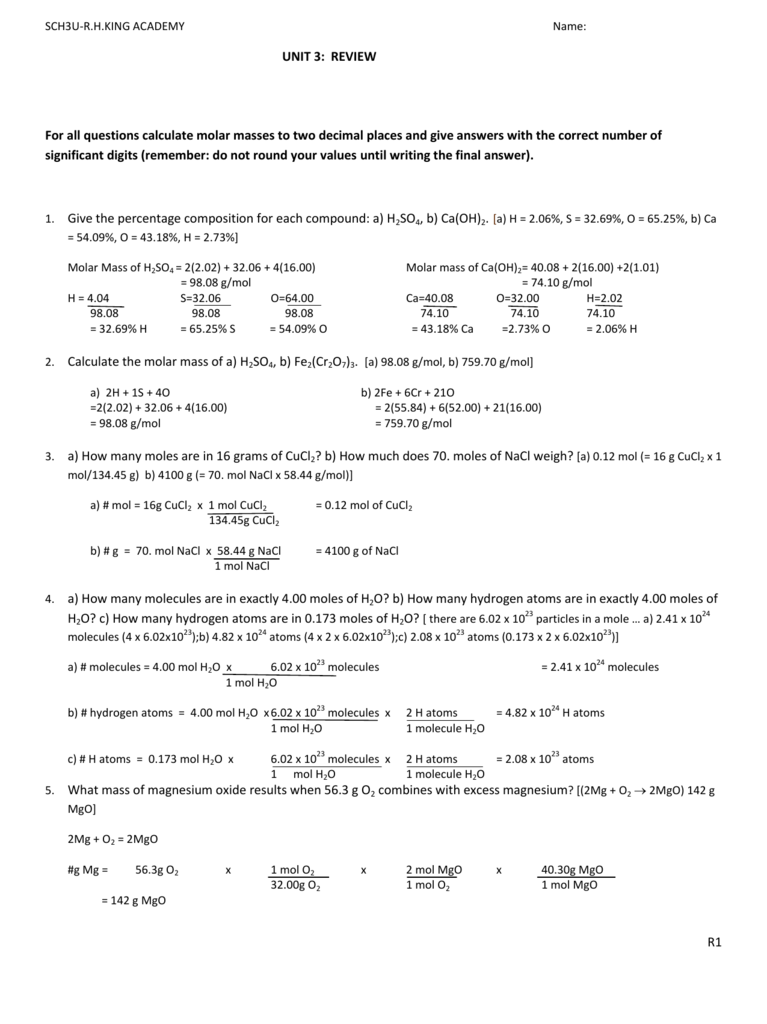Stoichiometry Test Review
