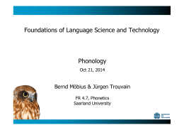 Phonology Foundations of Language Science and Technology