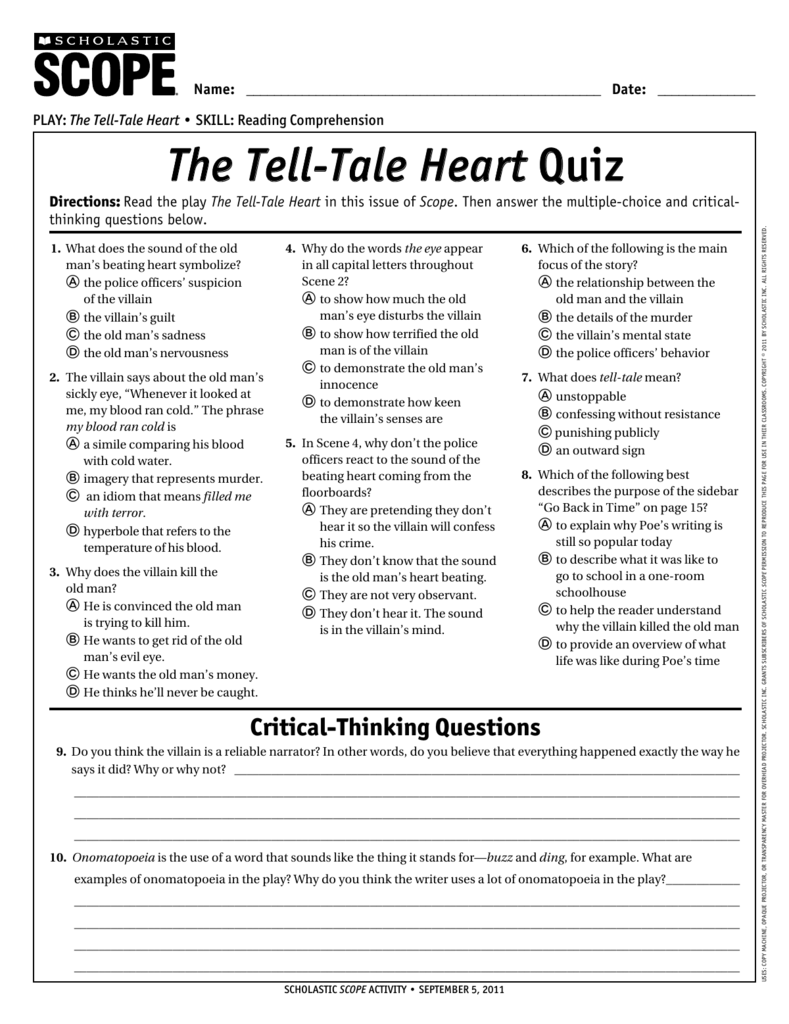 The tell tale heart quiz scope buycottarizona Images