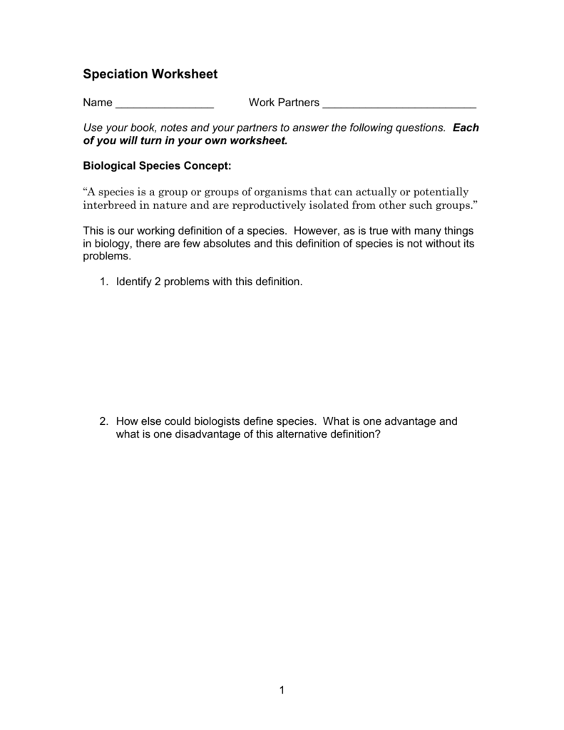 Speciation Worksheet Warren S Science Page