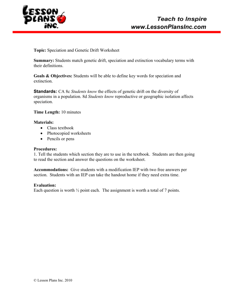 Worksheets Speciation Worksheet speciation genetic drift matching worksheet
