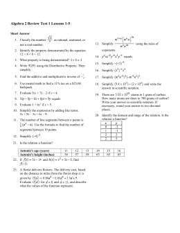 Algebra 2 Review Test 1 Lessons 1-5 - Milan C
