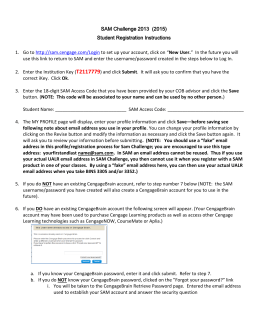SAM Challenge 2013 (2015) Student Registration Instructions 1. Go