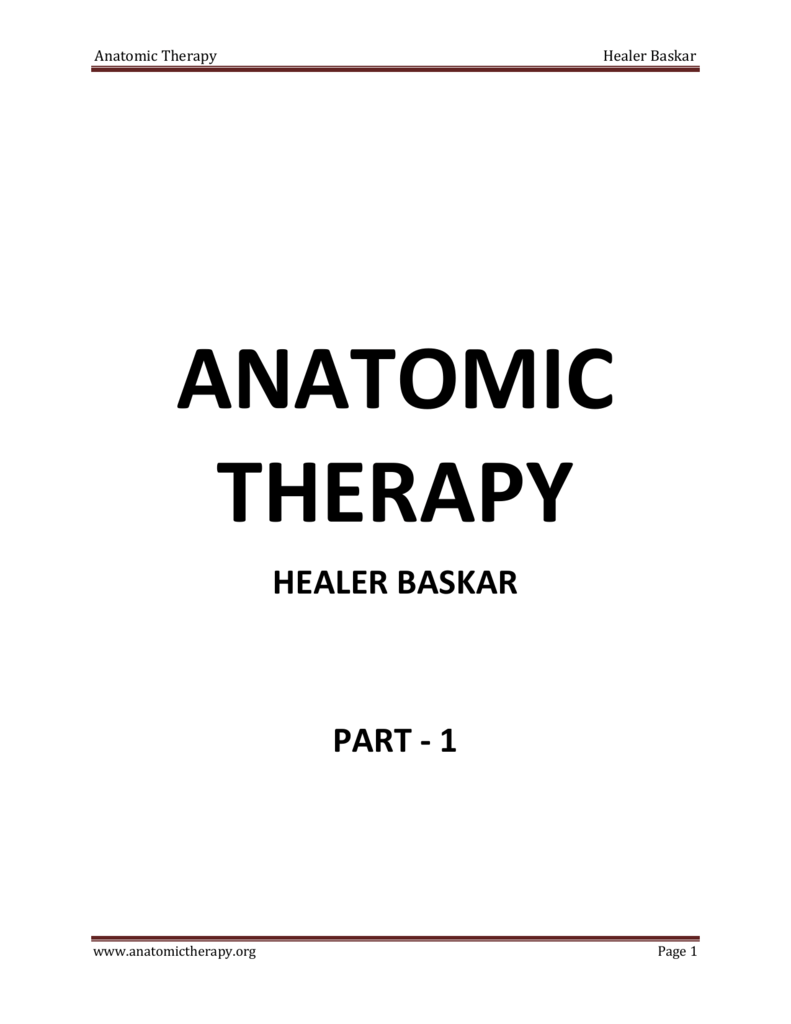 Anatomic Therapy Healer Baskar