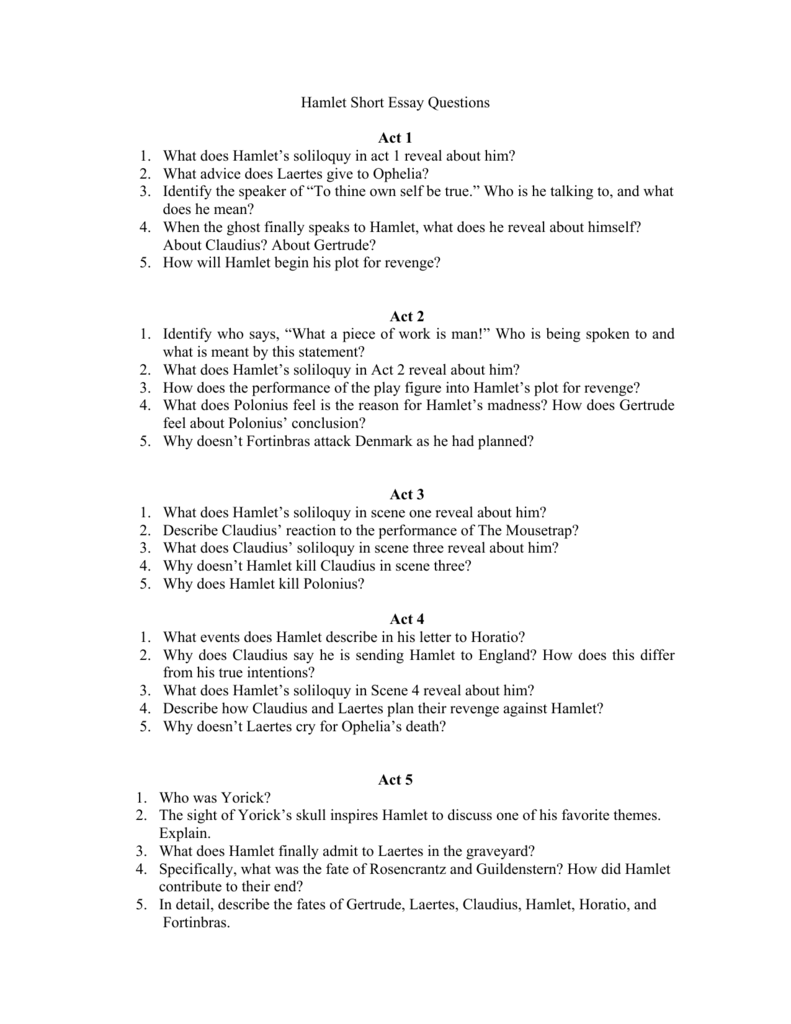 hamlet short essay questions act what does hamlet s soliloquy