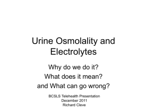 Urine Osmolality and Electrolytes