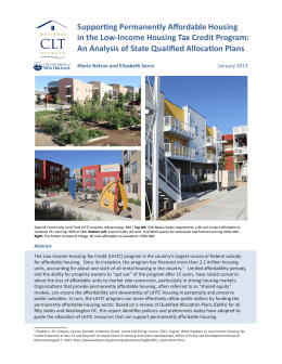 Supporting Permanently Affordable Housing in the Low