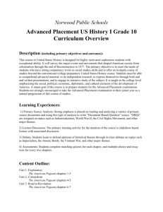 AP U.S. History I Curriculum Overview