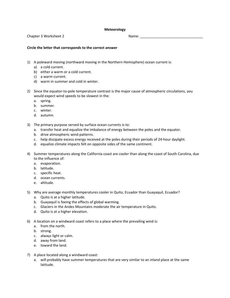Meteorology Chapter 3 Worksheet 2 Name Circle the letter that – Global Wind Patterns Worksheet