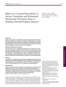 Effect of a Cooked Meat Meal on Serum Creatinine