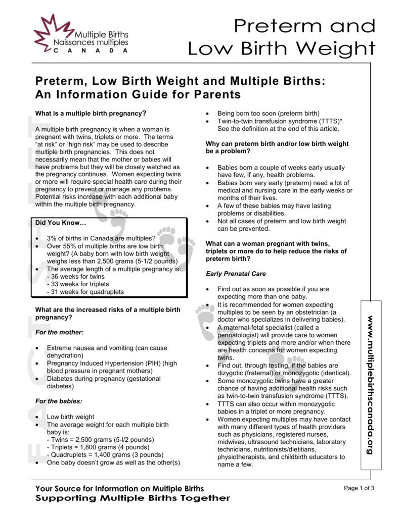 Preterm, Low Birth Weight And Multiple Births