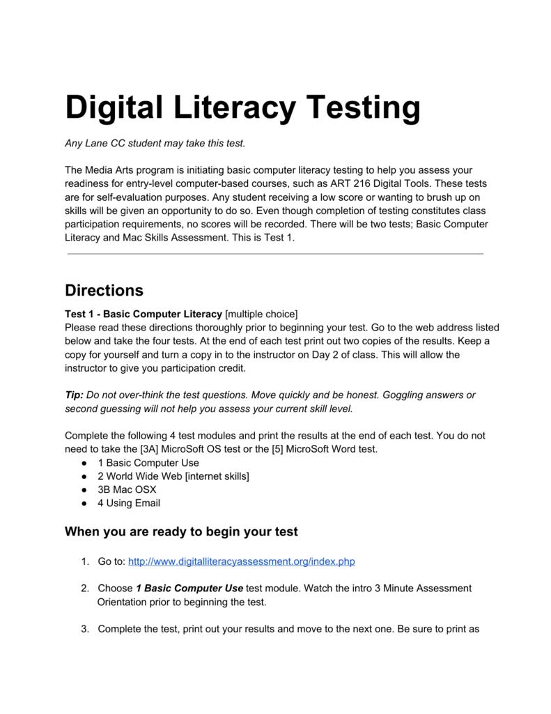 Digital Literacy Testing