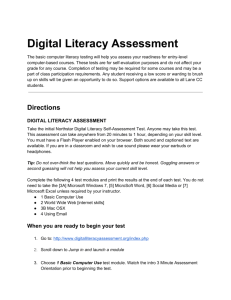 Directions for taking the Digital Literacy Assessment