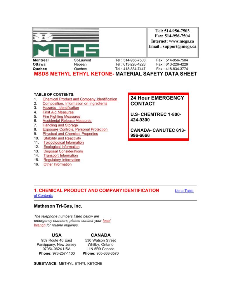 MSDS METHYL ETHYL KETONE- MATERIAL SAFETY DATA
