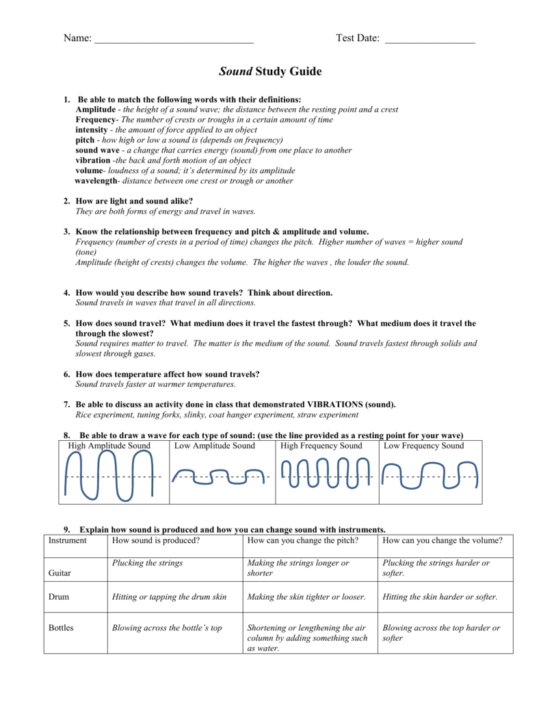 Light and Sound Science Test