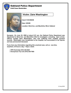 Oakland Police Department Victim: Zaire Washington