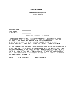 STANDARD FORM Deferred Payment Agreement Form No. 98