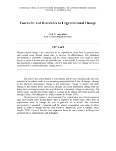 Forces for and Resistance to Organizational Change