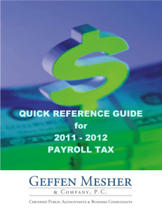 2012 Payroll Tax Quick Reference