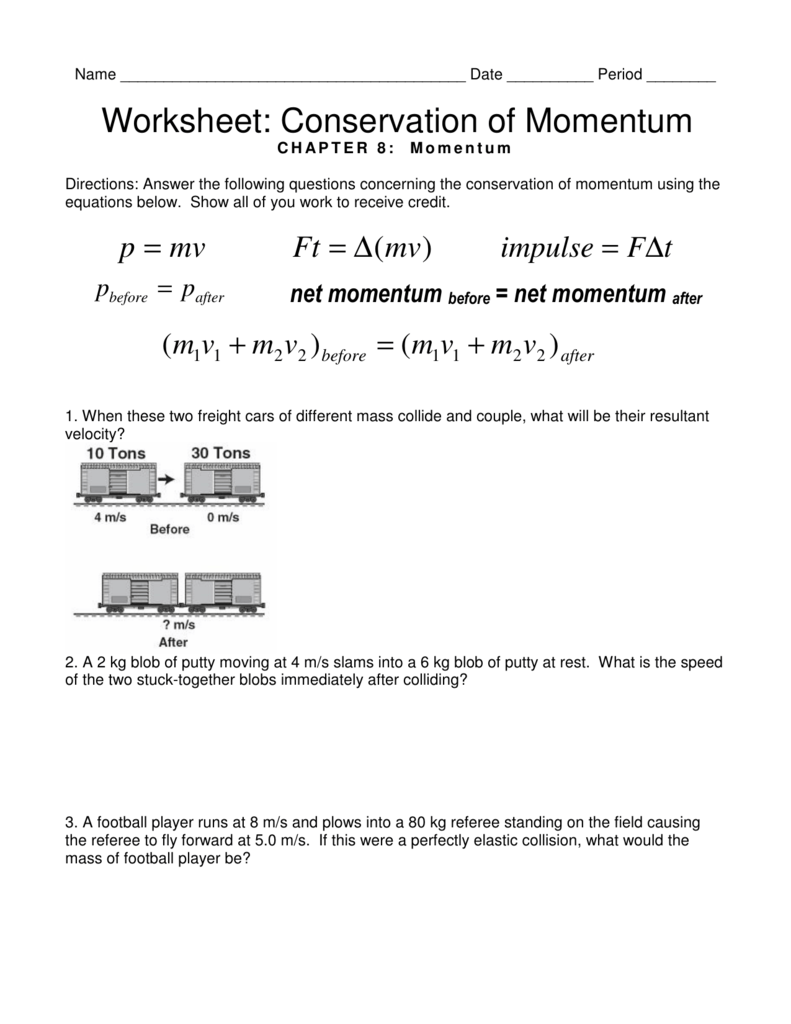 Worksheet Conservation Of Momentum