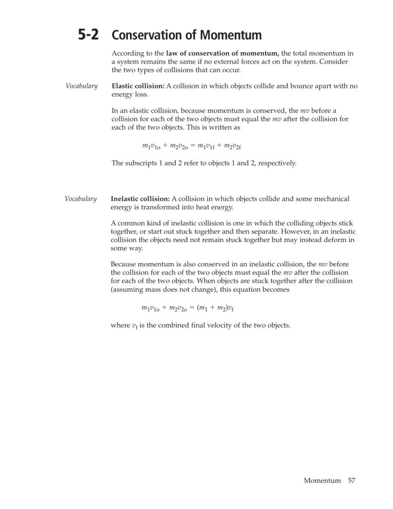 Worksheets Worksheet Conservation Of Momentum 5 2 conservation of momentum