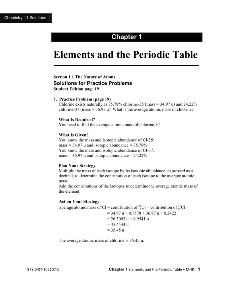Chapter 1 Elements And The Periodic Table