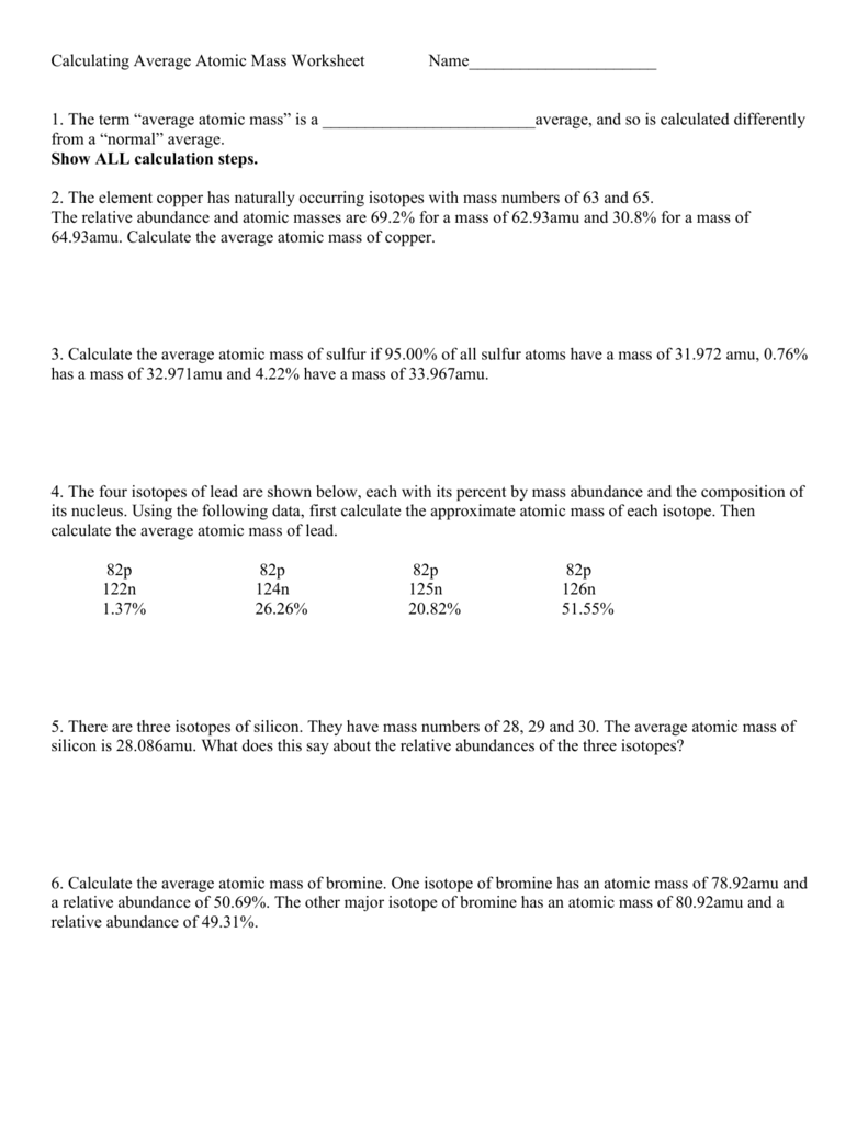 Calculating Average Atomic Mass Worksheet Name