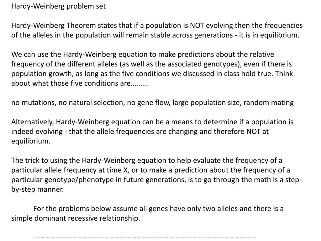 Hardy-Weinberg problem set Hardy-Weinberg - Course