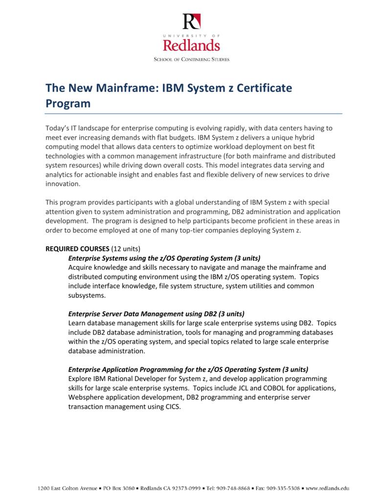 Ibm System Z Certificate