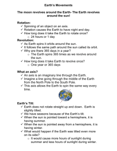 Earth's Movements The moon revolves around the Earth