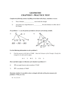 GEOMETRY Chapter 5 test PRACTICE TEST