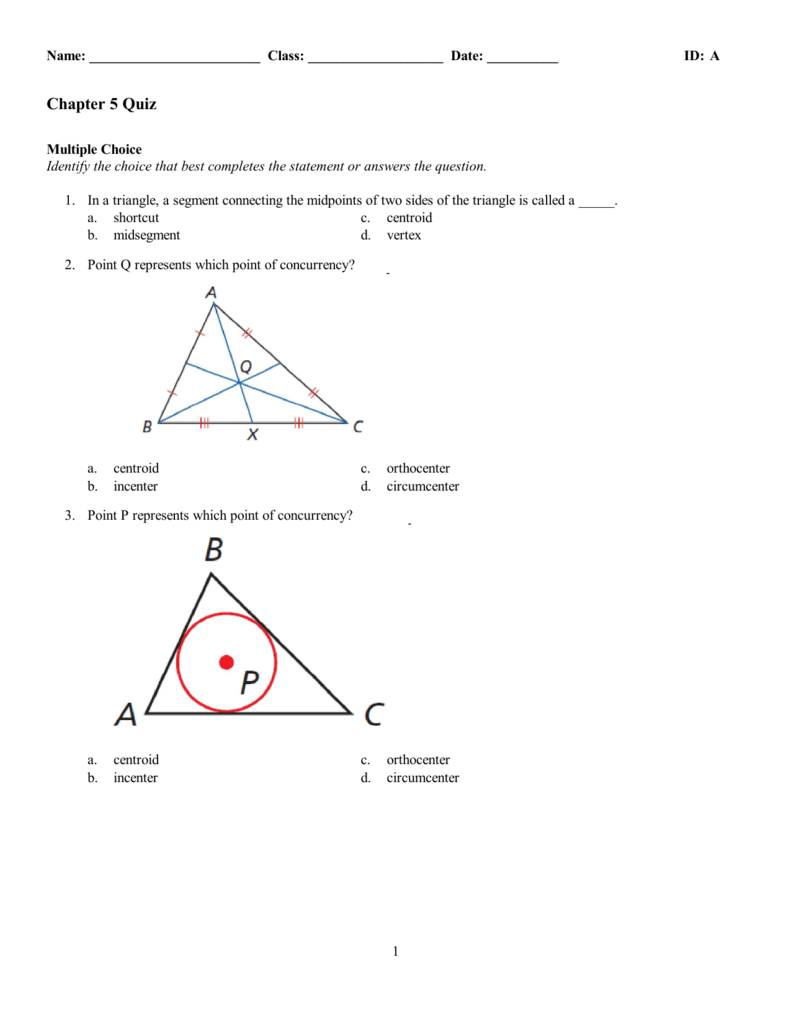 Chapter 22 Quiz Inside Points Of Concurrency Worksheet Answers
