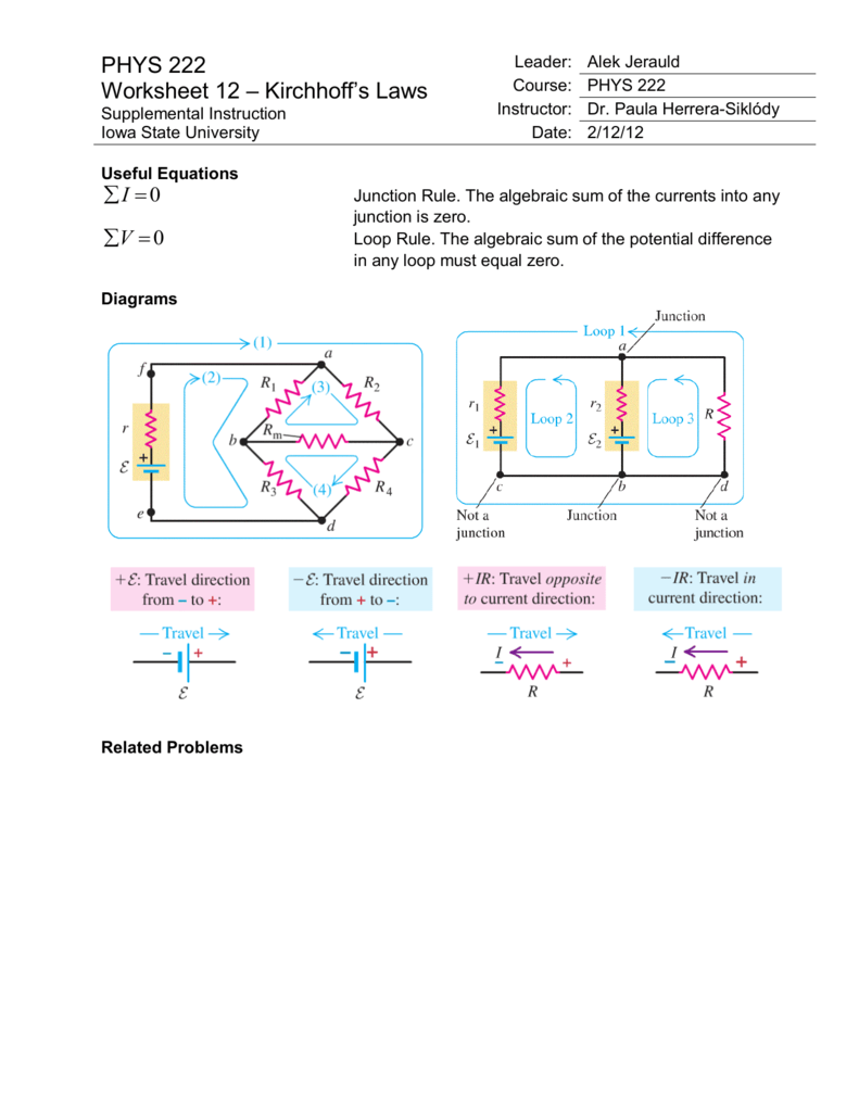 PHYS 222 Worksheet 12 – Kirchhoff's Laws