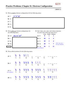 Practice Problems (Chapter 8): Electron Configuration