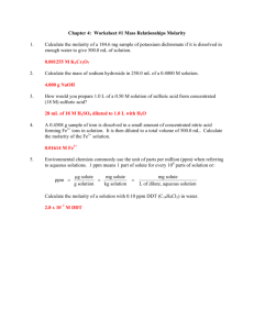 Chapter 4: Worksheet #1 Mass Relationships Molarity 1. Calculate