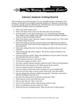 Literary Analysis: Getting Started