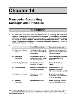 principles of managerial accounting spring 2004 This course studies basic concepts of financial and managerial reporting the viewpoint is that of readers of financial and managerial reports rather than the accountants who prepare them roychowdhury, sugata 15501 introduction to financial and managerial accounting, spring 2004.